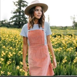 Clad & Cloth Rose Corduroy Overalls Dress Small